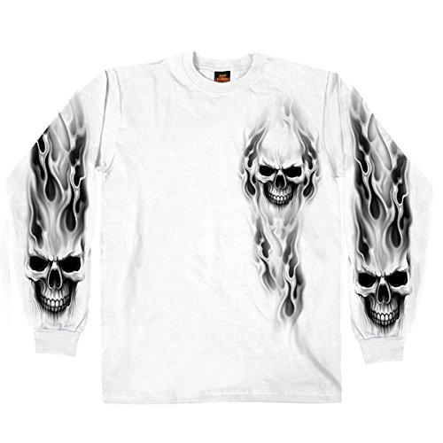 Hot Leathers Men's Ghost Skull Long Sleeve Shirt (White, XXX-Large)