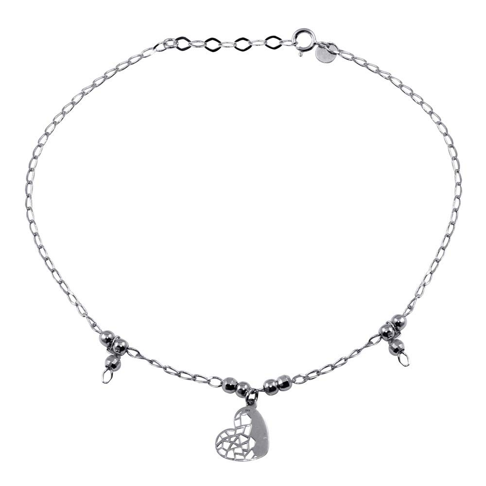 CloseoutWarehouse Rhodium Plated Sterling Silver Heart and Beads Anklet