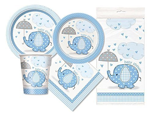 Blue Elephant Baby Shower Party Package - Serves 16 (Blue) -