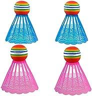 LED Badminton -1/4/6 PCS Colorful LED Luminous Plastic Nylon Badminton Outdoor Sports Basic Training Racked by