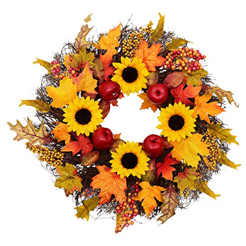 Yinhua Door Wreath Artificial Sunflower & Red Apple Maple Leaves Vine Garland for Front Door Decor Thanksgiving Harvest Day Home Autumn Wall -