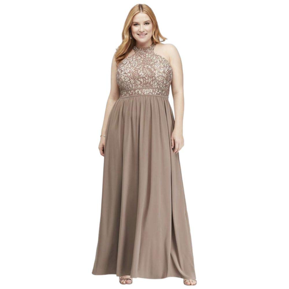 Round-Neck Lace and Jersey Halter Plus Size Gown Style 21606W