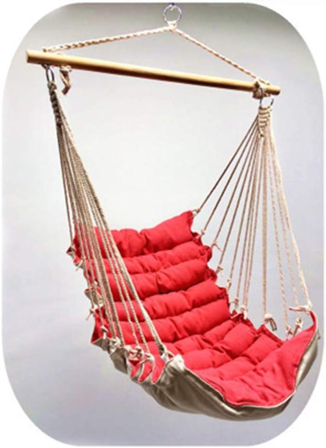 TYX-SS -La Silla De La Hamaca Nuevo Diseño Asiento Portátil para Acampar Colgante, Silla De La Hamaca Al Aire Libre con Barra De Madera para Jardín, Porche,Rojo