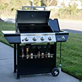 SUPER SPACE 60000 BTU 4 Burner + Side Burner Patio Garden Stainless Steel Barbecue Grill BBQ Gas Grills with Seasoning Shelf