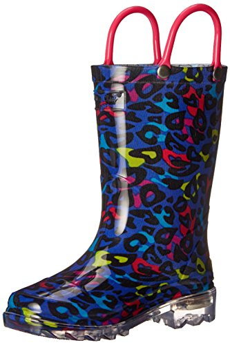 (Western Chief Girls' Waterproof Rain Boots That Light up with Each Step Pull, Groovy Leopard 12 M US Little Kid)