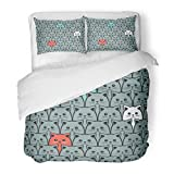 SanChic Duvet Cover Set Cartoon Cat Fills Kitty Pet Abstract Animal Beautiful Decorative Bedding Set with 2 Pillow Shams Full/Queen Size