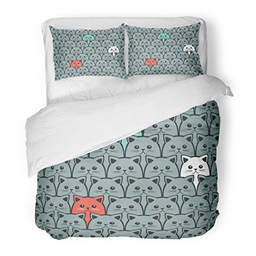 SanChic Duvet Cover Set Cartoon Cat Fills Kitty Pet Abstract Animal Beautiful Decorative Bedding Set with 2 Pillow Shams Full/Queen Size by SanChic