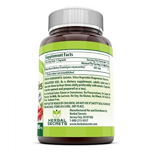 Herbal Secrets Hawthorn Berries 565 Mg 360 Capsules Non-GMO – Supports Cardiovascular Health, Helps Maintaining Existing Blood Level, Powerful Anioxidant Activity*