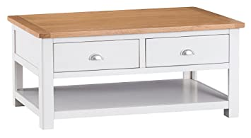 The Furniture Outlet Portland White Painted Oak Coffee Table Drawers