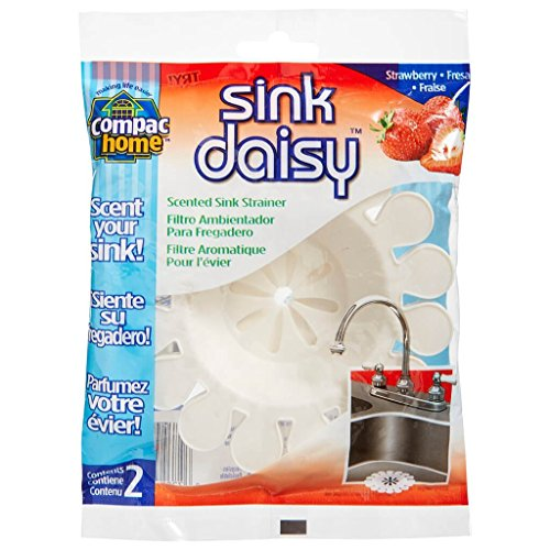 Compac Sink Daisy, Scented Kitchen Sink Strainer - Infuses and Freshens Your Sink with Crisp, Clean, Exciting Scents, While Protecting Garbage Disposals & Drains, Strawberry, 6 Count