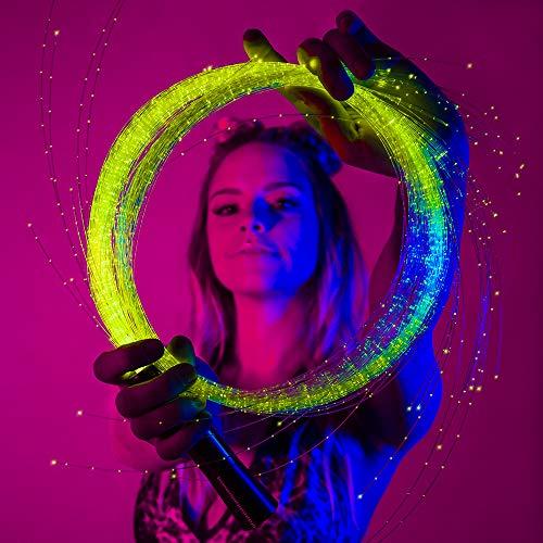 GloFX [Sparkle Fiber Space Whip Remix - Programmable LED Fiber Optic Whip, 6 Ft 360° Swivel - Super Bright Light Up Rave Toy EDM Pixel Flow Lace Dance Festival