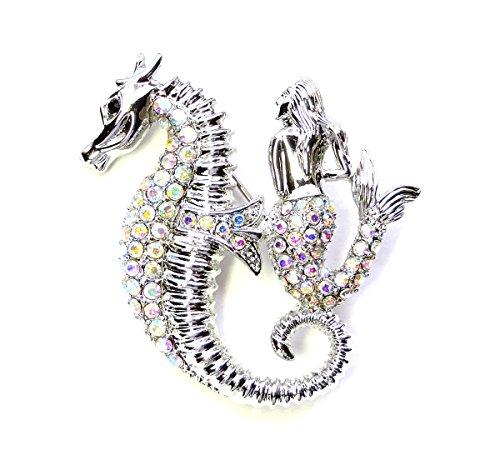 Ab Rhinestone Brooch (Faship Sparkling AB Crystal Seahorse Mermaid Pin Brooch)