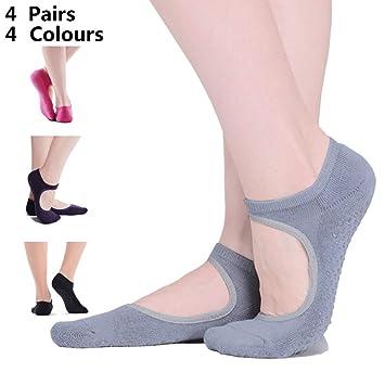 cholinchin 4 Pares de Calcetines de Yoga Damas Antideslizante Antideslizante Yoga/Polkadots algodón Mujer para Deporte Pilates, Ballet y Varilla, ...