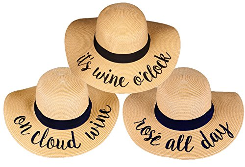 H-2017-3-IWO.OCW.RAD Sun Hat Bundle Wine Trio - Rose All Day by Funky Junque