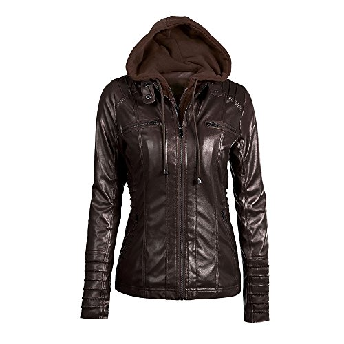 Autumn Hooded Warm Removable Winter Solid Fashion Jacket Slim Outwear Tops Womens HOOUDO Coat Lapel Overcoat Coffee Casual Zipper qBAwEE1W