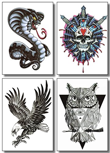 1aac3b5ceec02 Temporary Tattoos For Men Guys Boys & Teens (8 Large Sheets) - Fake Tattoos