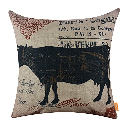 LINKWELL 18x18 inches Vintage Looking Farmhouse Cow Country Burlap Pillowcase Throw Cushion Cover (CC1264)