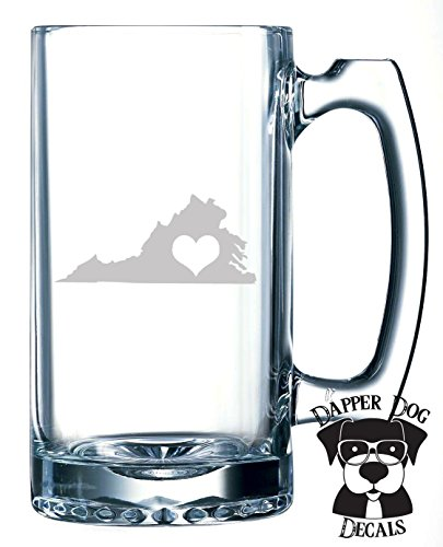 Virginia Pride I Heart My State Art Personalized Custom Hand Etched Mug 25 oz Beer Stein Glass Cup Great Gift