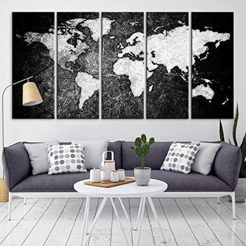 Amazon Com Large Wall Art World Map Canvas Print Black And White