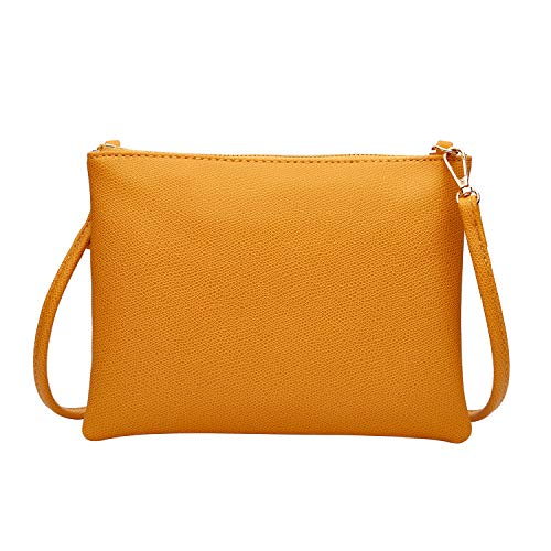 Crossbody Bag for Women, Small Shoulder Purses and Handbags Lightweight PU Leather Wallet with Detachable Strap (Yellow)