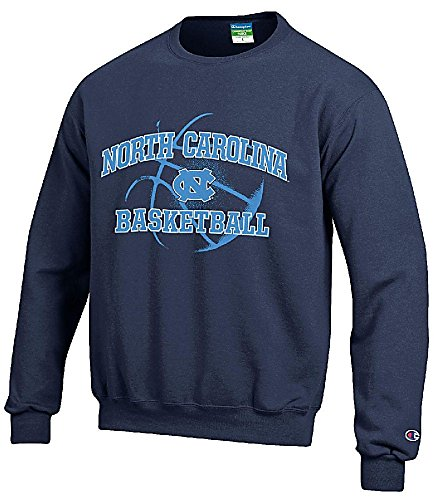 North Carolina Tar Heels Navy Basketball Powerblend Screened Crew Sweatshirt by Champion (X-Large)