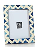 Hosley Blue Resin Tabletop Picture Frame, 5x7. Ideal Gift Home, Wedding, Party. Home Office, Spa P2