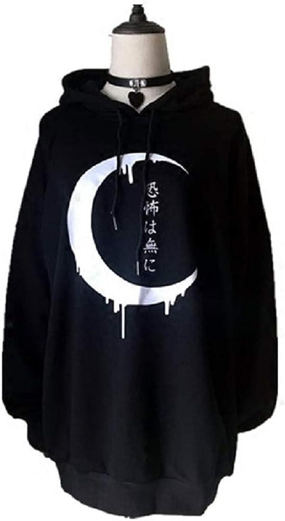 VJGOAL Femme Sweat Gothic Noir Manches Longues T-Shirt Punk Mode Imprimer Lune Sweatshirt a Capuche Personnalit/é Pullover Japonais Chic Automne et Hiver Plus Velours V/êtements De No/ël Halloween S-2XL