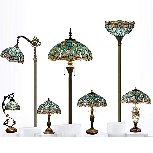 Tiffany Style Torchiere Light Floor Standing Lamp Wide 12 Tall 66 Inch Sea Blue Stained Glass Crystal Bead Dragonfly Lampshade for Living Room Bedroom Antique Table Set S147 WERFACTORY by WERFACTORY (Image #1)