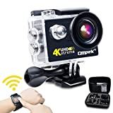 Campark ACT73R 4K Sports Action Camera WiFi Waterproof Camera RF Wrist Remote Control,Time Lapse,Burst Photo,Independent Apps for iOS and Android, 2pcs Batteries Included