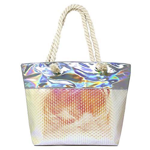 Me Plus Summer Mermaid Large Iridescent Holographic Beach Shoulder Tote Bag Zipper Closure Rope Handle (Fish Sales-Iridescent - Pink) ()