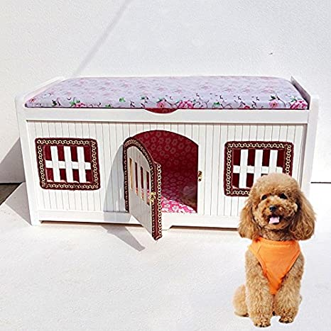 Amazon.com: Madera maciza hogar casa de perro caseta de ...