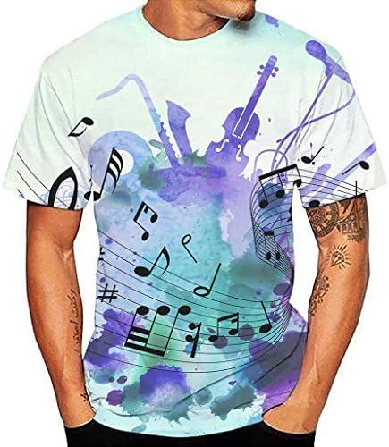 Tシャツ メンズ 3D 落書き プルオーバー 音符プリント ティーシャツ 薄手 通気性 夏服 おおきいサイズ 半袖 丸い襟 ポロシャツ カジュアル おしゃれ 通勤 トレーナー オシャレ 人気 ヒップホップ トップス