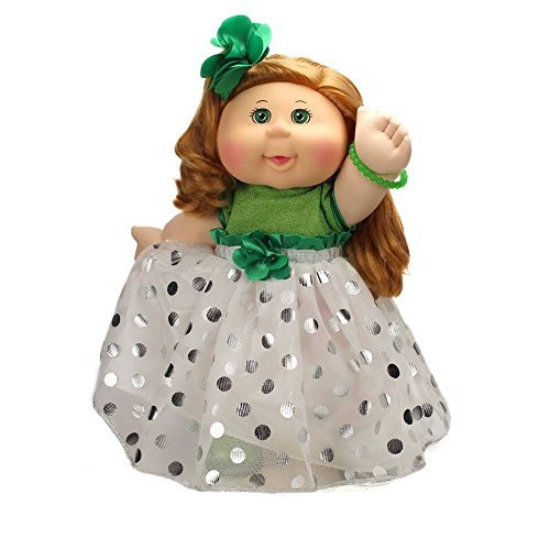 (2017 Holiday Edition Cabbage Patch Doll Strawberry Blonde, White and Green Dress )