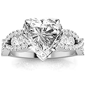 1.56 Ctw Designer Twisting Eternity Channel Set Four Prong Diamond Engagement Ring (0.96 Ct I Color SI1 Clarity Heart Cut Center)