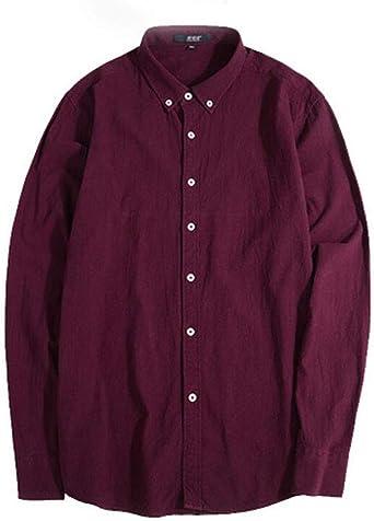 Camisa de algodón de Lino de los Hombres de la Camisa de Manga Larga de Gran tamaño más la Camisa de los Hombres gordos (Color : Rojo, Tamaño : L): Amazon.es: Ropa