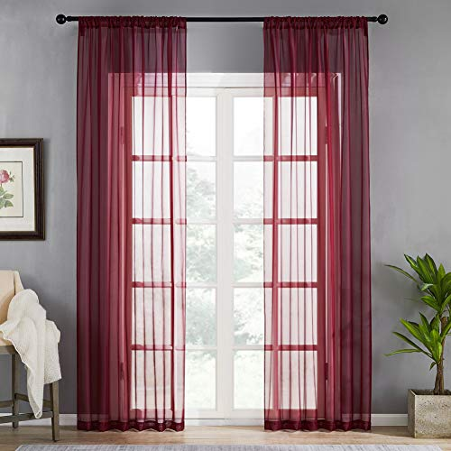 MRTREES Solid Sheer Curtains 63 inches Long Bedroom Window Curtain Panels Light Filtering Rod Pocket Living Room Sheers Voile Curtain Panels Drapes Window Treatment Set 2 Pieces Burgundy Red