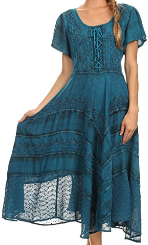 Boho-Chic Vacation & Fall Looks - Standard & Plus Size Styless - Sakkas 15323 - Mila Long Corset Embroidered Cap Sleeve Dress With Adjustable Waist - Turquoise