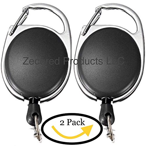 New! The Retractable Badge Holder and Keychain Reel 2 Pack by Zecured Products LLC! Highly Durable Professional Carabiner Clip Cord Extension for Your ID, Lanyard, Key! Office, Nurse, Security, etc. - Ship Key Holder