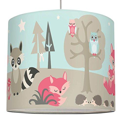 Anna wand Lampenschirm LITTLE WOOD - Schirm für Kinder Baby Lampe mit Waldtieren in versch. Farben – Sanftes Licht für Tisch-, Steh- & Hängelampe im Kinderzimmer Mädchen & Junge