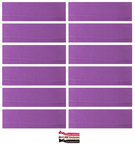 Kenz Laurenz Soft and Stretchy Elastic Cotton Headbands, (Pack of 12) - Purple]()