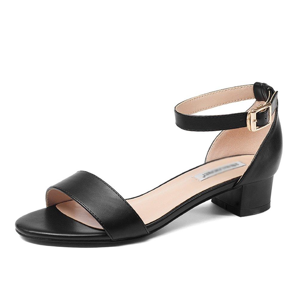 62e17d23 Barato ZCJB Sandalias De Verano Talones Gruesos Femeninos Tacones Altos  Palabra Hebilla Zapatos De Tacón Medio