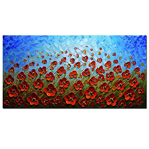 Blue Oil Painting (Asdam Art-Blooming Red Flower on Grasslands Blue Sky Artwork Hand Painted Landscape 3D Oil Paintings Framed Floral Wall Art on Canvas Pictures Ready to Hang for Living Room Bedroom Dining Room 20