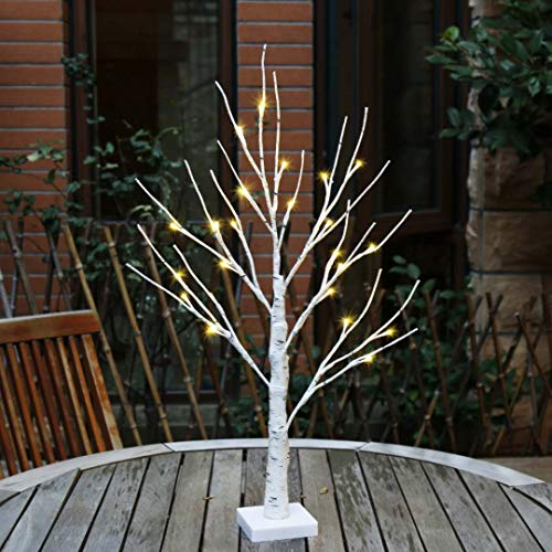 Lit Crystal Artificial Christmas Tree - EAMBRITE 2FT 24LT Warm White LED Battery Operated Birch Tree Light Tabletop Tree Light Jewelry Holder Decor for Home Party Wedding