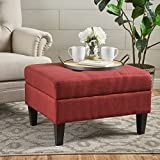 Evern Buttoned Deep Red Fabric Storage Ottoman Review