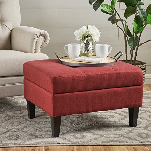 Evern Buttoned Deep Red Fabric Storage Ottoman
