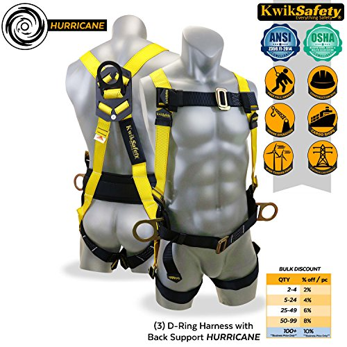 KwikSafety HURRICANE 3D Premium Fall Protection Body Safety Harness w/ Back Support | OSHA Approved ANSI Compliant Industrial Roofing Tool | Construction Free Fall Arrest Personal Protection Equipment