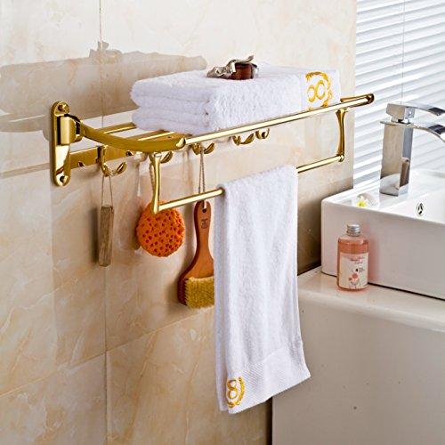 gold finish bathroom folding towel rack wall mounted clothes shelf holder ebay