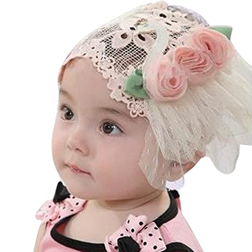 YOUR GALLERY Baby Girls YOUR GALLERY Cute Kawaii Lace Flower Bling Infant Headband Hairband