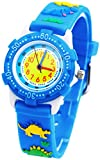 Tonnier Kids Watches 3D Cartoon Blue Rubber Band Different Dinosaurs Children Watches for kids