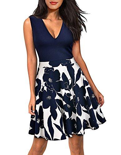 LECHEERS Women's Sleeveless Casual Party Contrast Mini Swing Summer Dress Dark Blue L